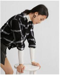 Express - Checked Flannel Boyfriend Shirt - Lyst