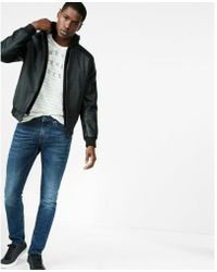 Express - Faux Suede Faux Leather Sleeve Jacket - Lyst
