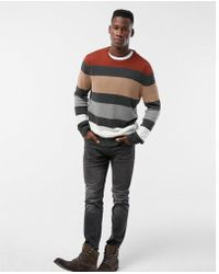 Express - Stripe Color Block Cotton Sweater - Lyst