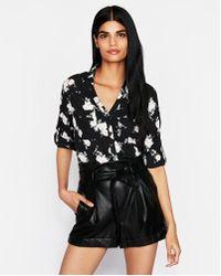 c04aab20bdb9c Lyst - Express Original Fit Silky Crepe Portofino Shirt in Black