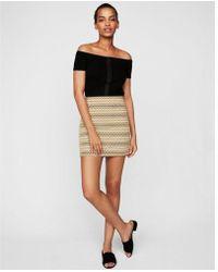 Express - Geometric Knit Mini Skirt - Lyst