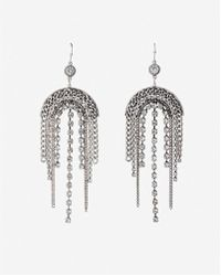 Express - Arched Rhinestone Fringe Drop Earrings - Lyst