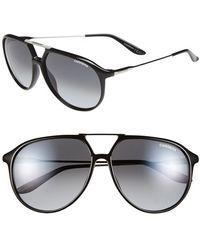 Carrera 59Mm Aviator Sunglasses - Shiny Black - Lyst