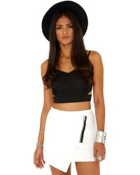 aa5716674 Missguided - Ernestina Wrap Over Mini Skirt With Zip Detail In Cream - Lyst