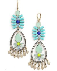 Kent & King - Crystal Chandelier Earrings - Turquoise/ Gold - Lyst