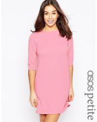 ASOS | Shift Dress In Jumbo Rib With 3/4 Sleeves | Lyst