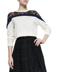 Tibi Chantilly Lace Cropped Sweater - Lyst