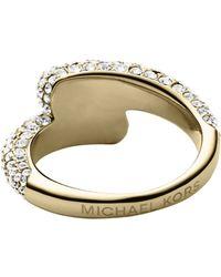 Michael Kors Pavé Gold-Tone Ring - Lyst