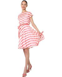 Isaac Mizrahi New York Coral Stripe Tie Waist Dress - Lyst