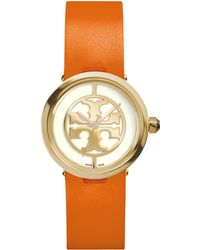 Tory Burch Reva Goldtone Stainless Steel & Leather Strap Watch/Orange - Lyst
