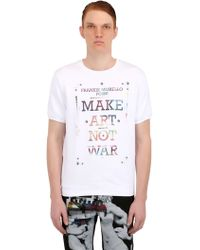 Frankie Morello Short Sleeve Printed Cotton Sweatshirt - Lyst