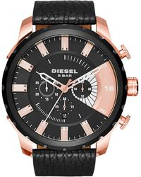 Diesel Men'S Chronograph Stronghold Black Leather Strap Watch 48Mm Dz4347 black - Lyst