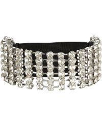 River Island Silver Tone Diamante Stretch Arm Cuff - Lyst