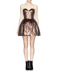 Maje Galega Lamé Velvet Bustier Dress - Lyst