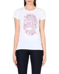 Juicy Couture Brooch-Logo Cotton-Jersey T-Shirt - For Women - Lyst