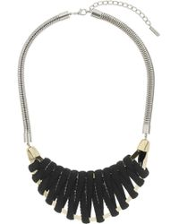 Topshop Fabric Wrapped Half Moon Necklace - Lyst