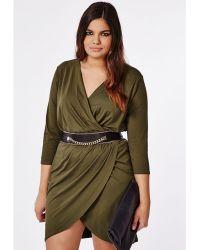 Missguided Plus Size Wrap Dress Khaki - Lyst