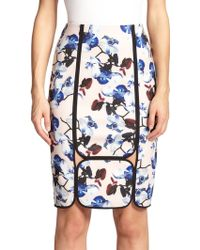 Yigal Azrouël Framed Orchid-Print Pencil Skirt multicolor - Lyst