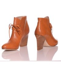 Atalanta Weller Italian Tan Leather Tie Ankle Boots By - Lyst