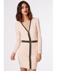 Missguided Adrienne Zipped Bodycon Dress Nude - Lyst
