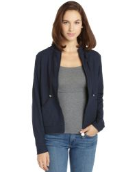 Moncler Navy Textured Stretch Woven Zip Up Maglia Hooded Cardigan - Lyst
