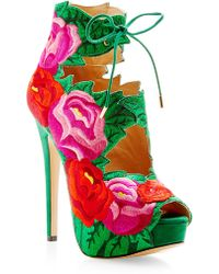 Charlotte Olympia Hibiscus Suede Lace-up Sandals - Lyst