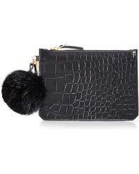Etienne Aigner - Eva Pouch with Fur Pom Pom in Black Croc with Black Pebble Back - Lyst