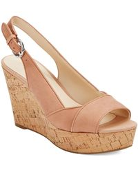 Nine West Caballo Leather Platform Wedge Sandals - Lyst