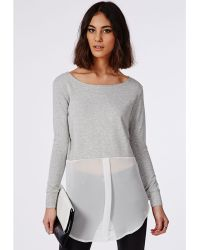 Missguided Long Sleeve Cropped Sweater Grey With Chiffon Shirt White - Lyst