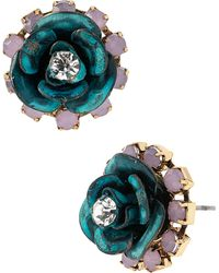 Betsey Johnson Patina Flower Stud Earrings - Lyst