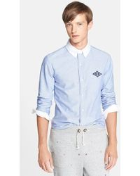 Band of Outsiders Extra Trim Fit Monogram Oxford Shirt - Lyst
