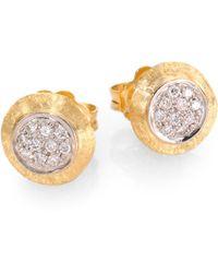 Marco Bicego Delicati Diamond, 18K Yellow & White Gold Stud Earrings - Lyst