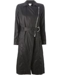 Helmut Lang Zip Detail Belted Trench Coat - Lyst