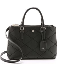 Tory Burch Robinson Stitched Mini Double Zip Tote - Black - Lyst