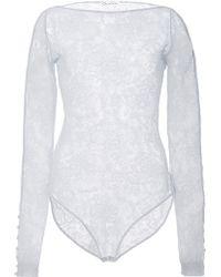 Oscar de la Renta - Sheer Lace Bodysuit - Lyst