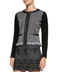 Nanette Lepore Intrigue Leathertrim Tweed Jacket Charcoal Large - Lyst