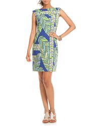 Trina Turk Mixed Print Boatneck Dress - Lyst