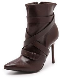 Alice + Olivia Alice  Olivia Dolan Buckle Booties  Chocolate Brown - Lyst