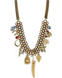 Tru. - Gold-tone Multi-charm Frontal Necklace - Lyst
