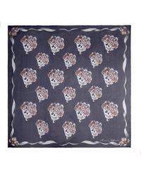 Alexander McQueen Romantic Skull Print Silk Scarf - Lyst