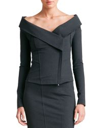 Donna Karan New York Gray Off-The-Shoulder Jacket - Lyst