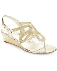 Adrianna Papell - Carli Textured Leather Sandal Wedges - Lyst