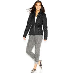 Krush - Faux-Leather-Trim Quilted Jacket - Lyst