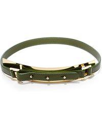 Elie Saab Olive Thin Gold Metal Plate Leather Belt - Lyst