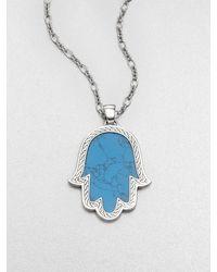 John Hardy | Classic Chain Turquoise & Sterling Silver Mano Di Fatima Pendant Necklace | Lyst