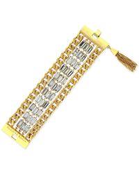 Vince Camuto - Gold-Tone Baguette Chain Tassel Bracelet - Lyst