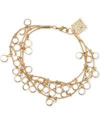 Anne Klein - Gold-tone Crystal Three-row Bracelet - Lyst
