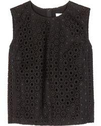Victoria Beckham Cotton Lace Top - Lyst