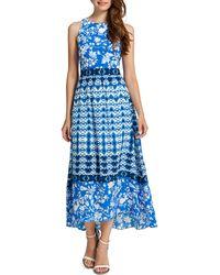 Cynthia Steffe Sydney Long Sleeveless Printed High-low Dress - Lyst