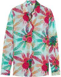 MSGM Printed Silk-Crepe Shirt - Lyst